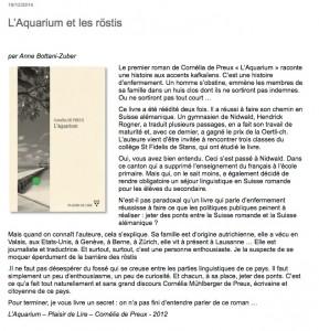 """L'Aquarium"" sur Blogres."