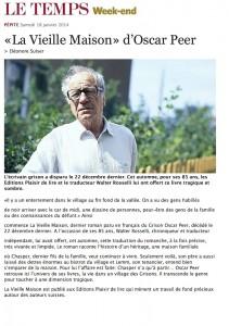 """""""La Vieille maison"""" dans Le Temps, du 18 janvier 2014."""