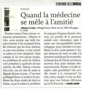 """""""Marine et Lila"""" dans L'Impartial du 19 novembre 2013."""