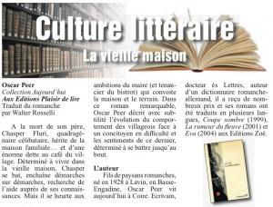 """""""La Vieille maison"""" dans Le Courrier du 16 janvier 2014."""