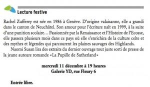 Rachel Zufferey dans le Journal de la Ville de Neuchâtel.