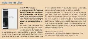 """""""Marine et Lila"""" dans """"swisstransplant news""""."""