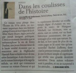 """""""La Pupille de Sutherland"""" dans Le Nouvelliste du 25 février 2014."""