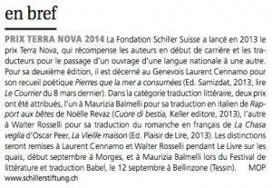 Prix Terra Nova dans Le Courrier du 5 avril 2014.