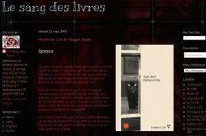 """Le blog """"Le sang des livres""""."""