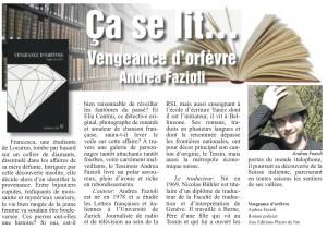 """""""Vengeance d'orfèvre"""" dans Le Courrier du 12 juin 2014."""
