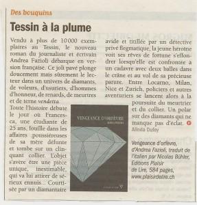 """""""Vengeance d'orfèvre"""" dans Vigousse du 29 août 2014."""