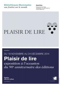 L'affiche de l'exposition des 90 ans de Plaisir de Lire à Genève.