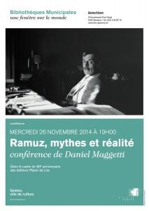 L'affiche de la conférence Ramuz à Genève.