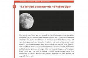 """""""La Sorcière de Dentervals"""" sur le blog LittératureRomande.net."""