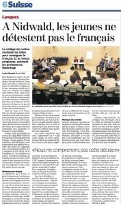 La rencontre de Stans dans La Tribune de Genève.
