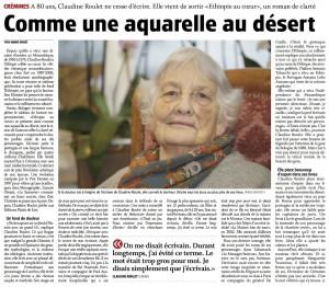 """Claudine Roulet dans """"Le Journal du Jura"""" du 5 janvier 2015."""